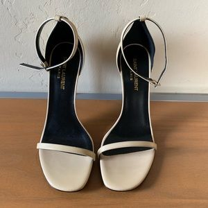 SAINT LAURENT Jane Heel Sandal Nude size 38.5
